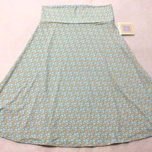 Lularoe Aqua Tan Geo Triangle Azure Skirt Slinky